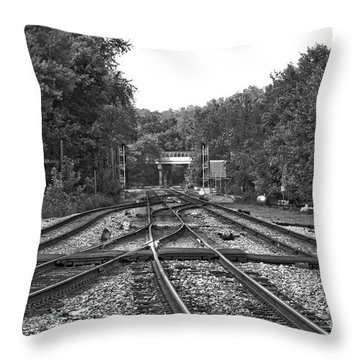 Steel Rail Intersections.   Point Of Rocks Md Throw Pillow