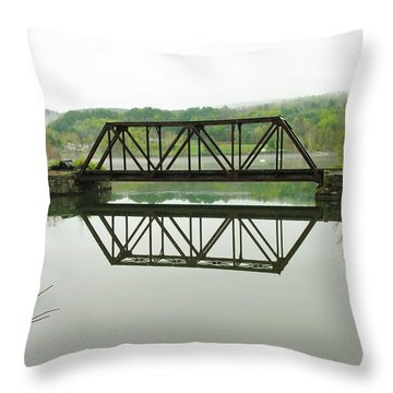 Throw Pillow featuring the photograph Vermont Steel Railroad Trestle On A Calm  Misty Morning by Sherman Perry