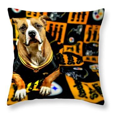 Pitbull Rescue Dog Football Fanatic Throw Pillow