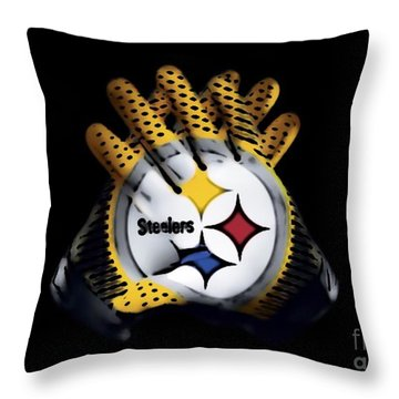 Throw Pillow featuring the digital art Steelers Gloves by Gayle Price Thomas