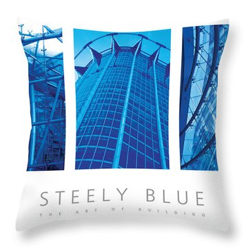 Steely Blue The Art Of Building Poster Throw Pillow by David Davies