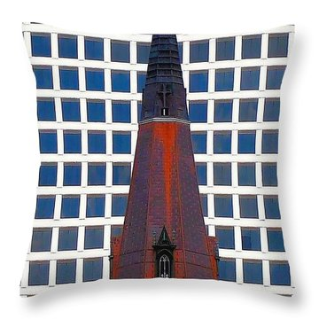 Throw Pillow featuring the photograph Steeple And Office Building by Janette Boyd