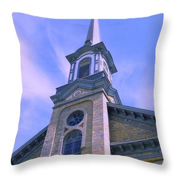 Throw Pillow featuring the photograph Steeple Church Arch Windows  1 by Becky Lupe