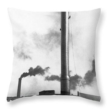 Steeplejacks Painting Chimney Throw Pillow