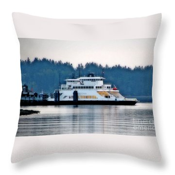Steilacoom Ferry At Dusk Throw Pillow