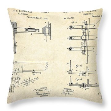 1885 Steinway Piano Pedal Patent Art Throw Pillow