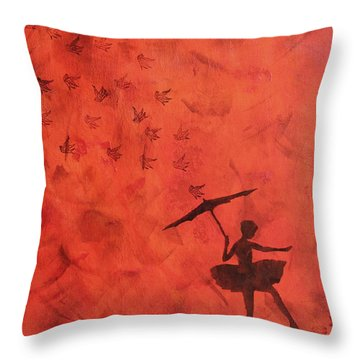 Stencil Ballerina Throw Pillow