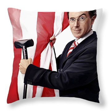 Throw Pillow featuring the painting Stephen Colbert Artwork by Sheraz A