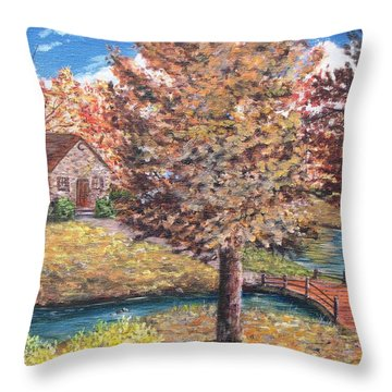 Stepping Into Autumn Throw Pillow by Kevin F Heuman