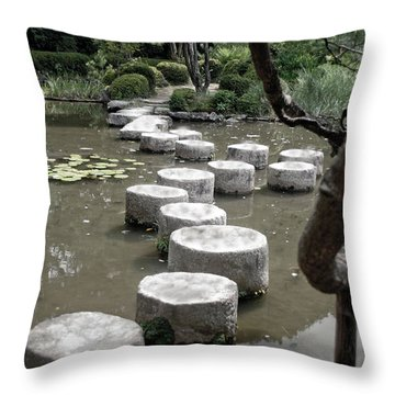 Stepping Stone Kyoto Japan Throw Pillow