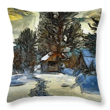 Throw Pillow featuring the painting Steps In The Snow by Georgi Dimitrov