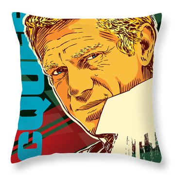 Steve Mcqueen Pop Art Throw Pillow