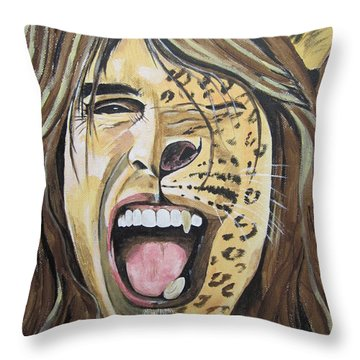 Steven Tyler As A Wild Cat Throw Pillow by Jeepee Aero