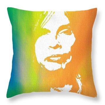 Steven Tyler Canvas Throw Pillow by Dan Sproul