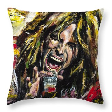 Steven Tyler Throw Pillow by Mark Courage