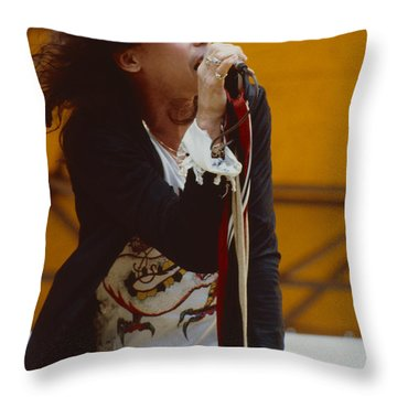 Steven Tyler Of Aerosmith At Monsters Of Rock In Oakland Ca Throw Pillow