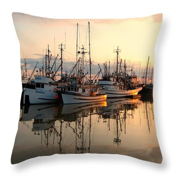 Steveston Harbour Throw Pillow by Shirley Sirois