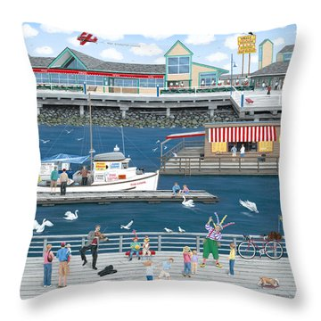 Steveston Landing Throw Pillow by Wilfrido Limvalencia