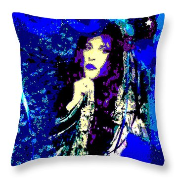 Stevie Nicks In Blue Throw Pillow by Alys Caviness-Gober