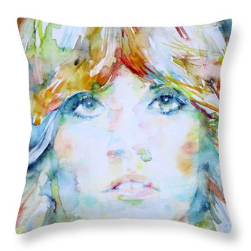 Stevie Nicks - Watercolor Portrait Throw Pillow by Fabrizio Cassetta