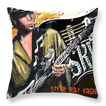 Stevie Ray Vaghn Throw Pillow by Larry E Lamb