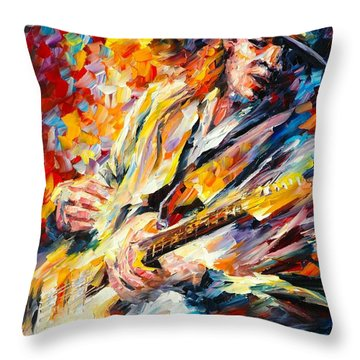 Stevie Ray Vaughan Throw Pillow by Leonid Afremov