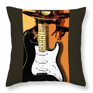 Stevie Ray Vaughan Throw Pillow by Larry Butterworth