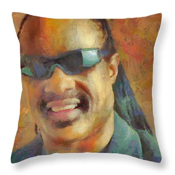Throw Pillow featuring the painting Stevie by Wayne Pascall