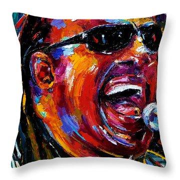 Stevie Wonder Throw Pillow by Debra Hurd