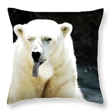 Stick Out Your Tongue Throw Pillow by Kathleen Struckle