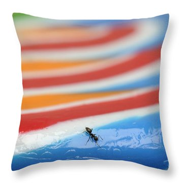 Sticky Rings Of Saturn Throw Pillow by Luke Moore
