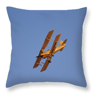 Still Flying 1942 Tiger Moth Trainer  Throw Pillow by Ramabhadran Thirupattur
