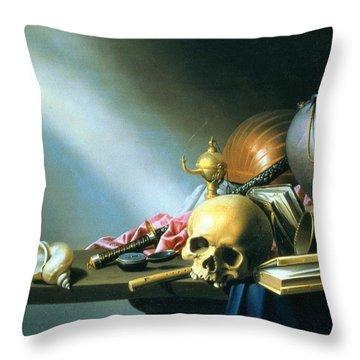 Still Life An Allegory Of The Vanities Of Human Life Throw Pillow by Harmen van Steenwyck