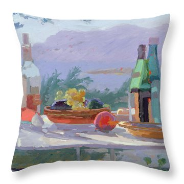 Still Life And Seashore Bandol Throw Pillow by Sarah Butterfield