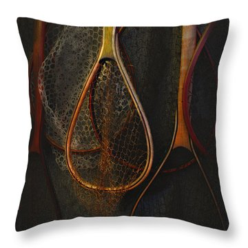 Still Life - Fishing Nets Throw Pillow by Jeff Burgess