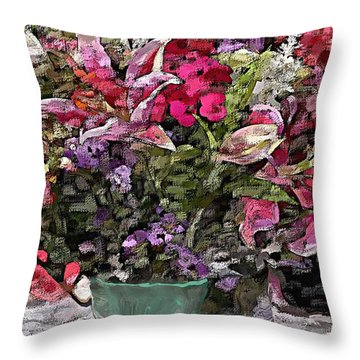 Throw Pillow featuring the digital art Still Life Floral by David Lane