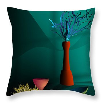 Throw Pillow featuring the digital art Still Life In Studio by Leo Symon