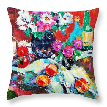Throw Pillow featuring the painting Still Life In Studio With Blue Bottle by Becky Kim