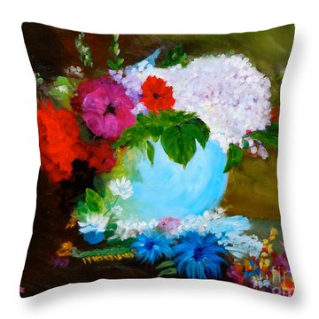 Throw Pillow featuring the painting Still Life by Jenny Lee