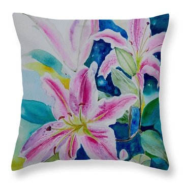 Still Life Lilies Throw Pillow by Geeta Biswas