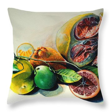 Still Life Of Citrus Throw Pillow by Alessandra Andrisani