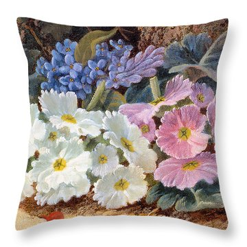 Still Life Of Flowers Throw Pillow by Oliver Clare