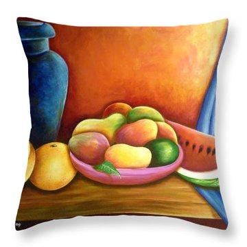Still Life Of Fruits Throw Pillow