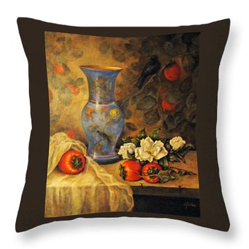 Still Life Of Persimmons  Throw Pillow by Donna Tucker