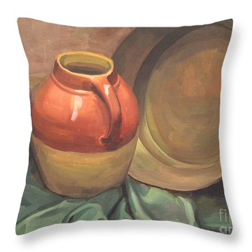 Still Life Of Pottery 1929 Throw Pillow