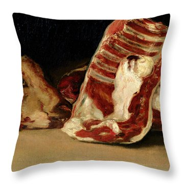 Still Life Of Sheep's Ribs And Head Throw Pillow by Francisco Jose de Goya y Lucientes