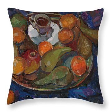 Still Life On A Tray Throw Pillow by Juliya Zhukova