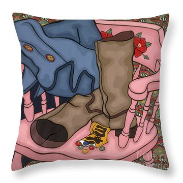 still life painting - The Pink Chair Throw Pillow