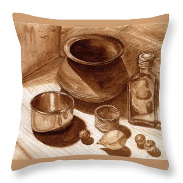 Throw Pillow featuring the painting Still Life Walnut Ink by Mukta Gupta
