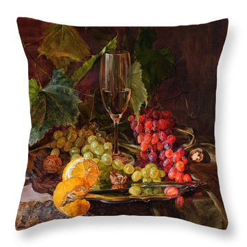 Still-life With A Glass Of Wine And Grapes Throw Pillow